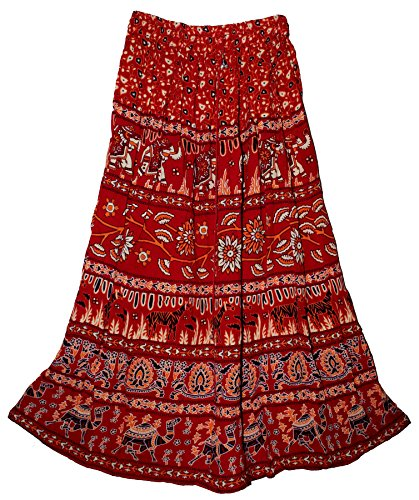 Indian Print Long Soft Skirt Size S M L Free Maxi USA Broomstick Women Ethnic Hippie (Red)