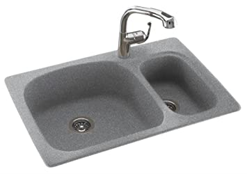 Swanstone classics 33 x 22 largesmall double bowl kitchen sink swanstone classics 33quot x 22quot largesmall double bowl kitchen sink finish workwithnaturefo
