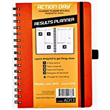 Action Day Academic Weekly Planner 2015-2016 - Color Orange - Size 6x8 - Layout Designed to Get Things Done - (Student Planner (+) Teachers Planner (+) Daily Calendar (+) Day Planner (+) Weekly Diary (+) Monthly Planner (+) Goals Journal (+) Homework Scheduler (+) To-do List)(+) Goals Journal (+) Datebook (+) To-do List)