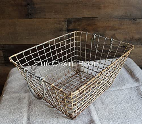 Weathered French Oyster Basket with fold down handles -- Rustic Metal Baskets -- Great for Storage!