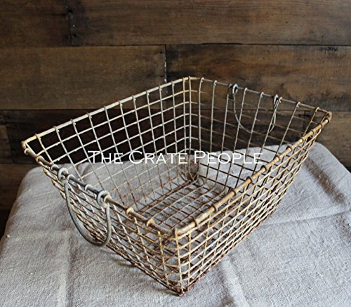 Cheap  Weathered French Oyster Basket with fold down handles -- Rustic Metal Baskets..
