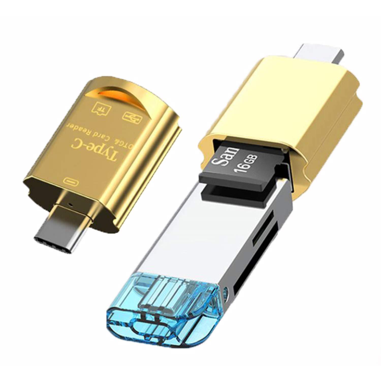 Blizim Mini Lector de Tarjetas USB 3,1 Type C a Puerto USB y TF SDXC SDHC