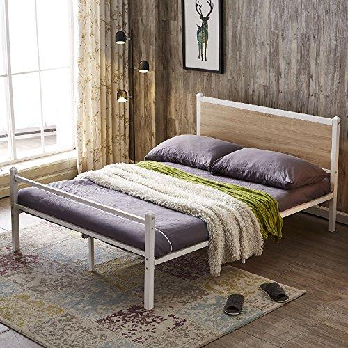 GreenForest Bed Frame Heavy Duty Metal Platform Bed Base with Oak Wooden Headboard Mattress Foundation No Box Spring Needed, Full (Oak Steel Bed)