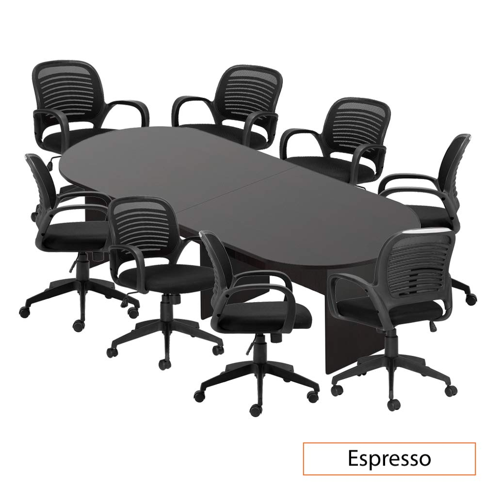 GOF 6FT, 8FT, 10FT Conference Table Chair (G10901) Set, Cherry, Espresso, Mahogany, Walnut, Artisan Grey (10FT with 8 Chairs, Espresso)