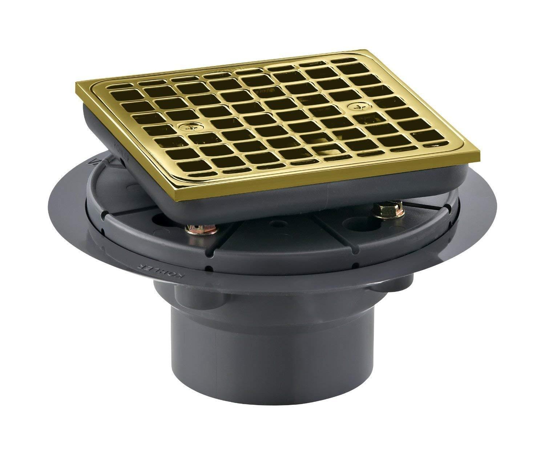Vibrant Polished Nickel KOHLER K-9136-SN Square Design Tile-In Shower Drain