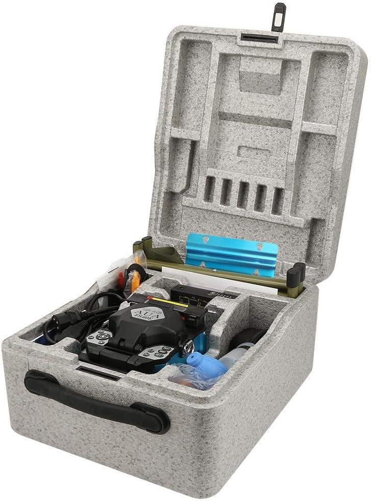 Fusionadora de Fibra Optica Empalmes de Fusión Automática de Fibra Óptica, FTTx Kit de Fibra Óptica Fusión, Máquina de Empalme de Soldadura para SM/MM/DS/NZDS(Enchufe de la UE)