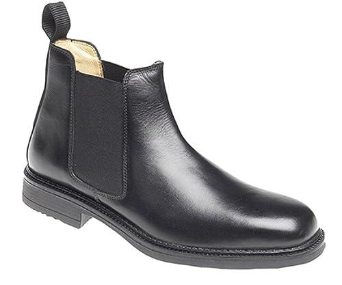 Botas para hombre Roamers en cuero estilo Chelsea acolchadas con forro de cuero - Negro,