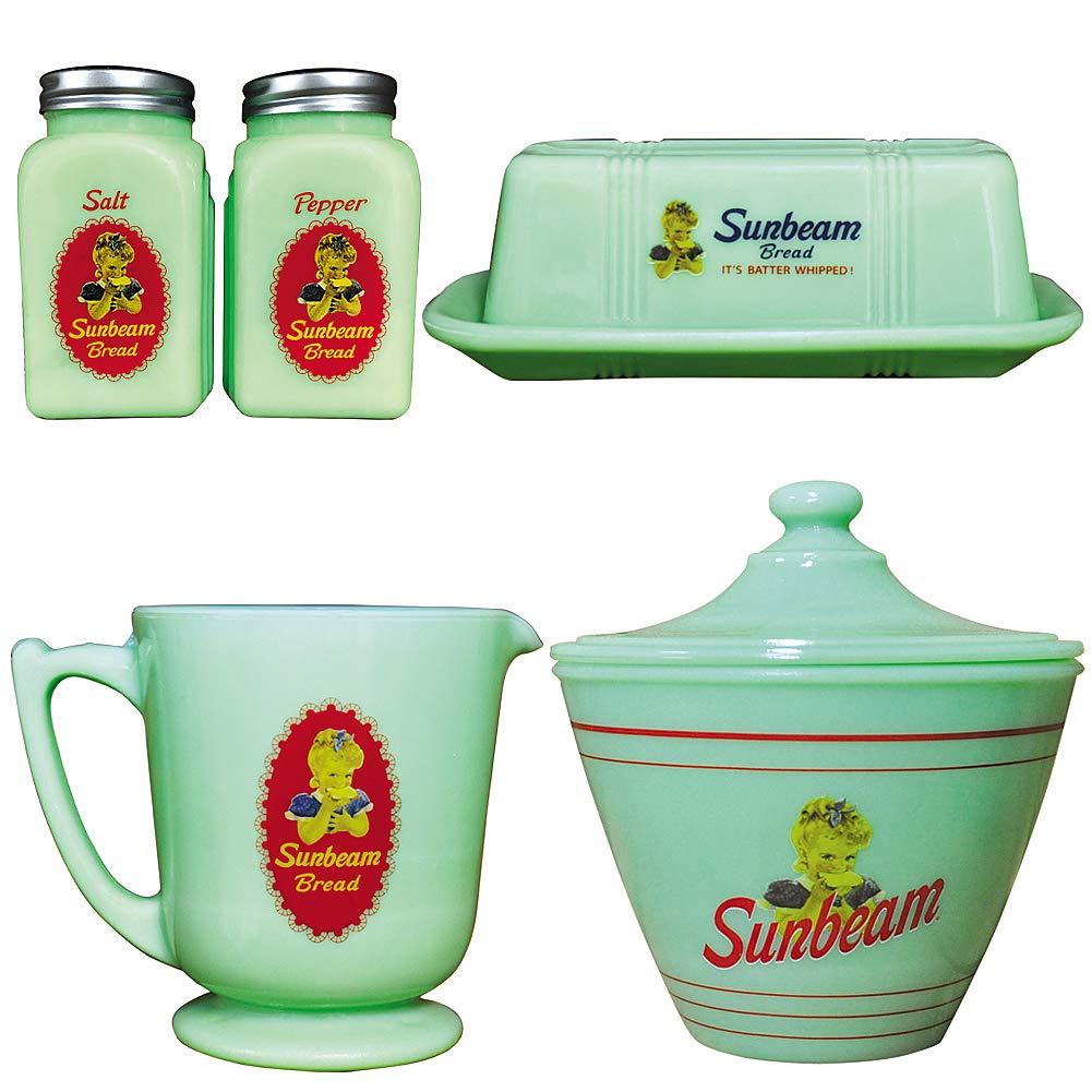(Set/4) Sunbeam Jadeite Kitchen Collection - Vintage Glass Storage & Service by Johnson Smith Co.