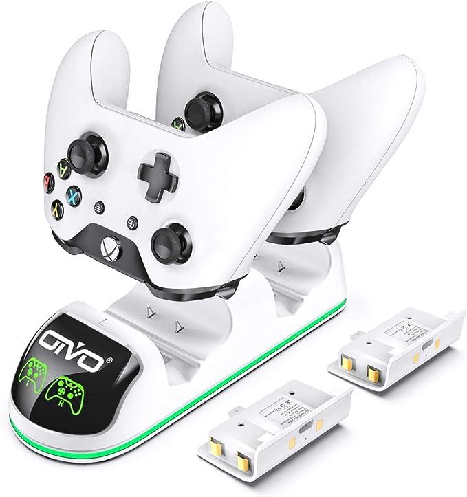 OIVO - Cargador para mando a distancia compatible con Xbox One, estación de carga dual rápida con correa LED, 2 paquetes de baterías recargables incluidos: Amazon.es: Electrónica