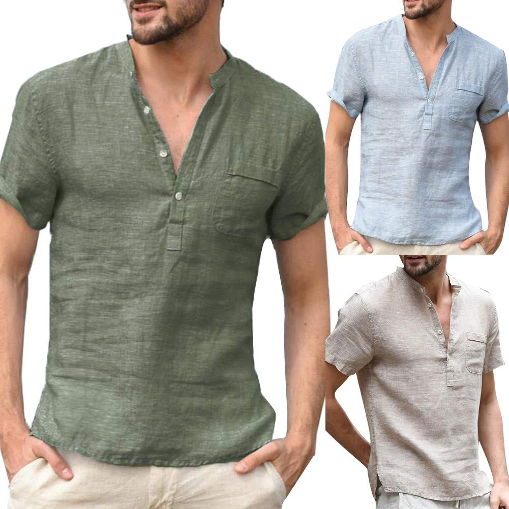 Colorido Solid Color Button V Neck Patch Pocket Linen Short Sleeve All-Match Stylish Casual Men T-Shirt Summer Top Army Green M
