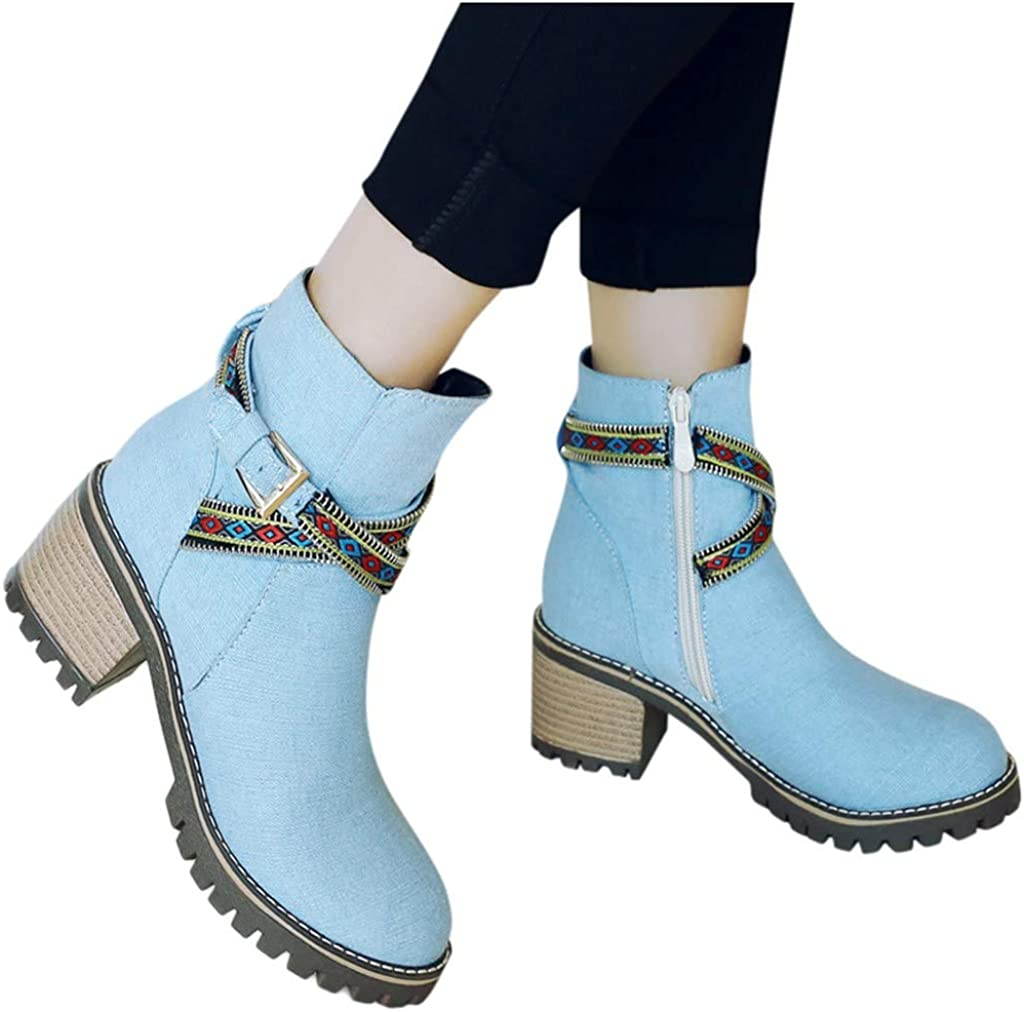 New Women Ankle Boots Buckle Side Zip Block Round Toe High Heel Leather Non-slip