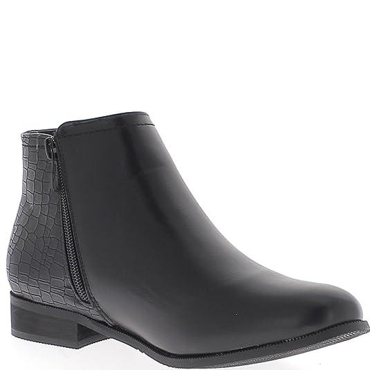 Negro bajo botas de cocodrilo y tacón 2,5 cm cuero brillante - 36