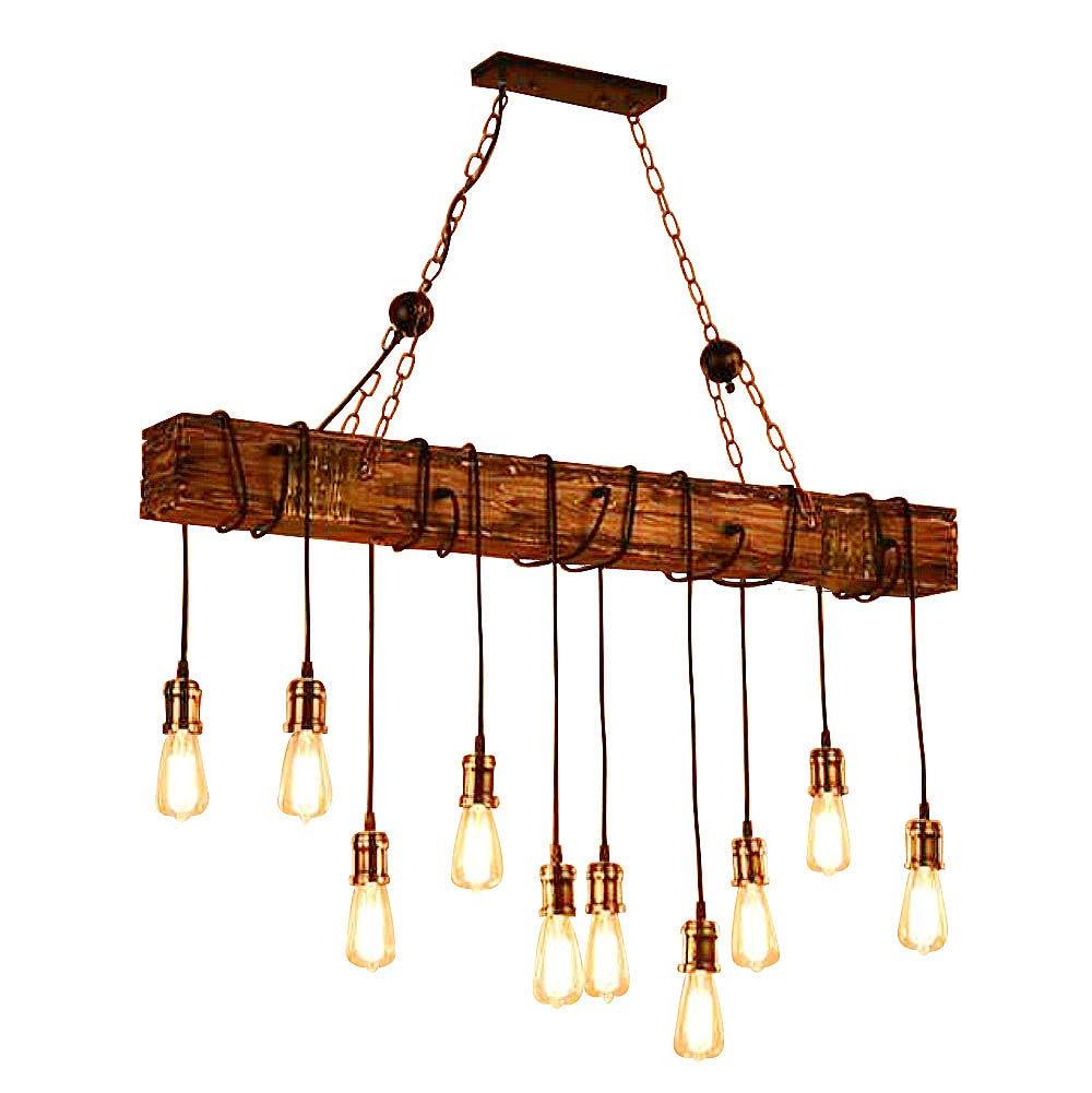 Ladiqi 10-Lights Wooden Island Chandelier Retro Rustic Pendant Lighting Lamp Multiple Adjustable Hanging Ceiling Linear Light Fixtures for Kitchen Island Living Room Bar
