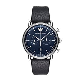 73e3f7a98 Image Unavailable. Image not available for. Color: Emporio Armani Men's  Dress Stainless Steel Quartz Watch with Leather Calfskin Strap, Blue ...