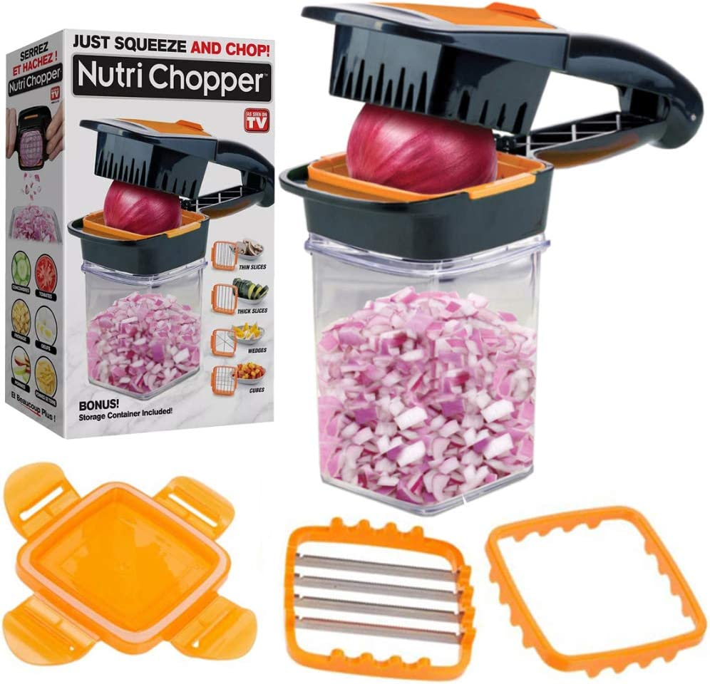 Nutrichopper Deluxe with 30% Larger Fresh-keeping Storage Containers - Vegetable Slicer that Chops, Cubes and Wedges, Multi-purpose Food Chopper with Stainless Steel Blades, As Seen On TV