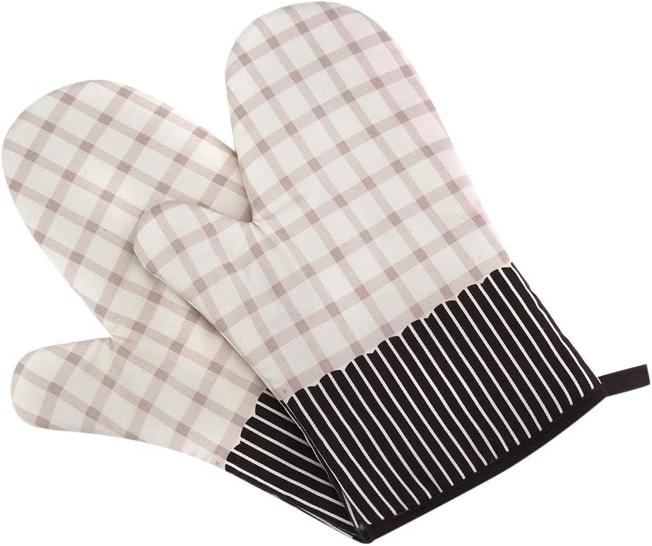 Grilling Kitchen BBQ FunDiscount Professional Heat Resistant Potholder Kitchen Gloves Cotton Double-Layer Heat Insulation Oven Mitts Extra Long Baking Hot Pot Pad Handler for Cooking Pink