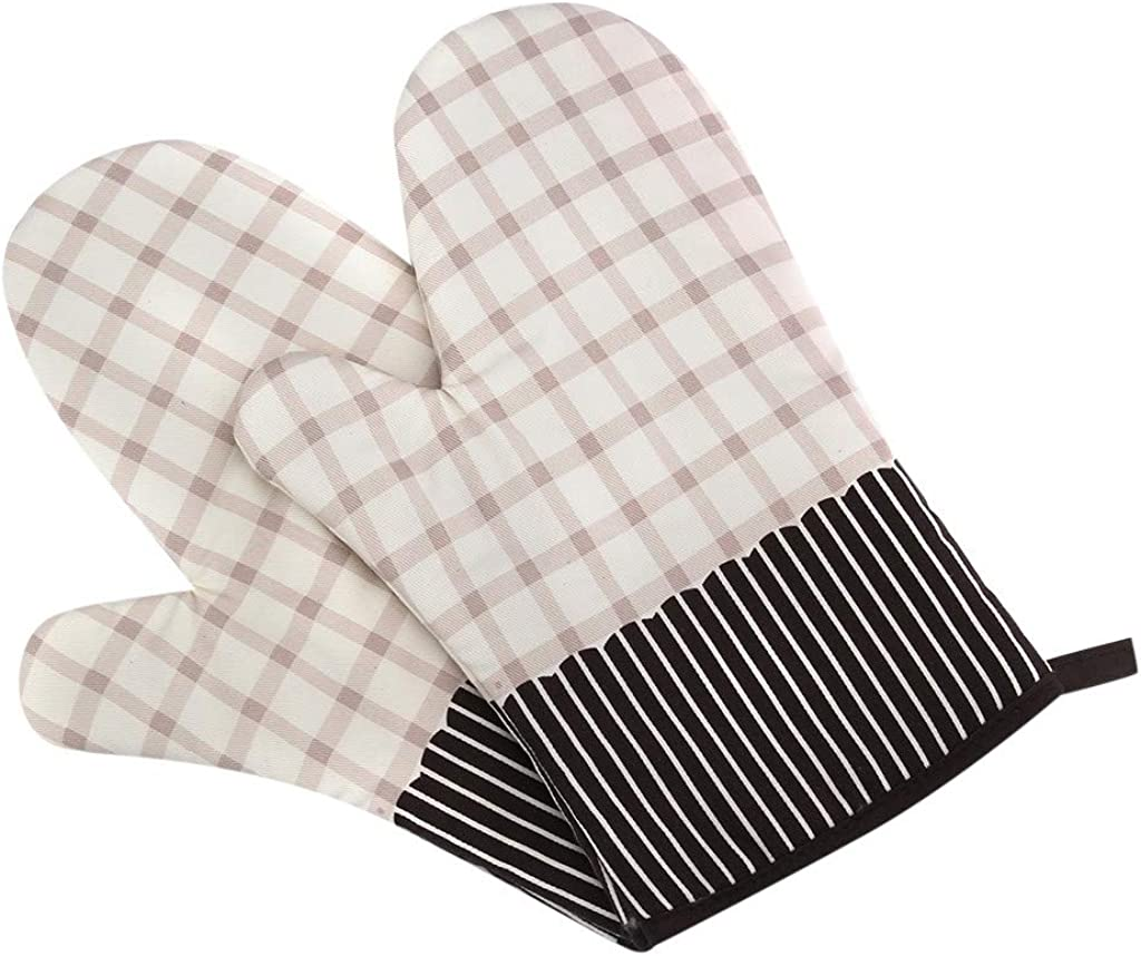 LANGMAN Gloves Non-Slip Kitchen Oven Mitts Heat Resistant Cooking Gloves for Cooking, Baking, Barbecue Potholder