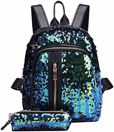 b91abf9e1074 vermers Fashion Sequins Backpack Clutch Bags Girl School Bag Backpack  Travel Shoulder Bag+Clutch Wallet