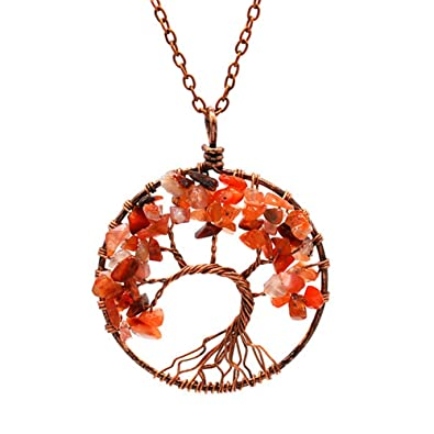 Atongham Chakra Tree Of Life Pendant Necklace Copper Crystal Natural Stone Necklace Women Christmas Gift LwxnSy3AeA