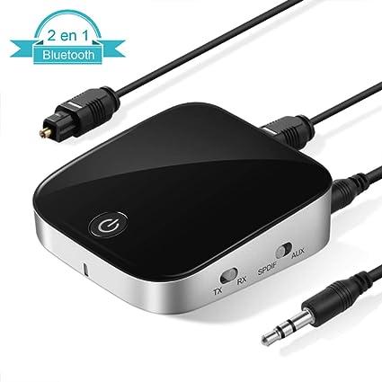 LOETAD Adaptador Transmisor Receptor 2 en 1 Bluetooth 4.1 Inalámbrico Portátil con aptX Baja Latencia Audio Estéreo para TV, Audio, Música Inalámbrico en Coche