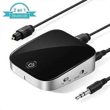LOETAD Adaptador Transmisor Receptor 2 en 1 Bluetooth 4.1 Inalámbrico Portátil con aptX Baja Latencia Audio Estéreo para TV, Audio, Música Inalámbrico en ...