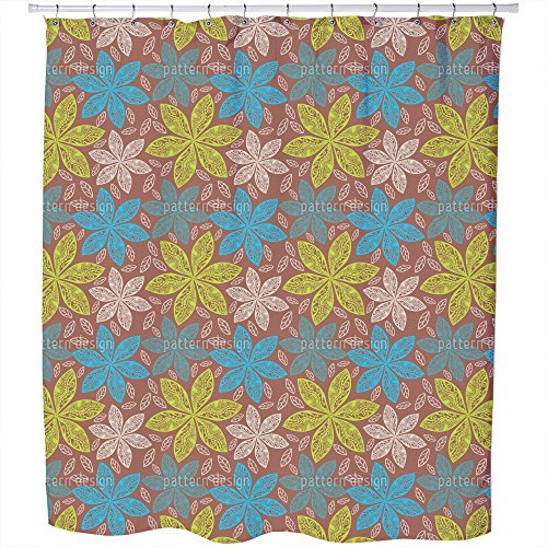 Uneekee Polynesian Flora Shower Curtain: Large Waterproof Luxurious Bathroom Design Woven Fabric by uneekee