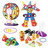 Magnetic Building Blocks with Wheels 120 Pcs, Glonova Magnet Tiles Toys for Kids, Upgrade Quality Instruction Booklet and Storage Bag Included