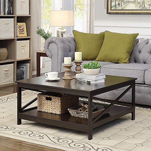 Convenience Concepts Oxford Square Coffee Table, 36-Inch, Espresso