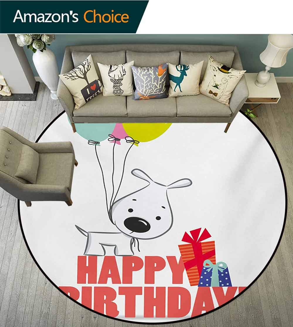 RUGSMAT Kids Birthday Modern Machine Washable Round Bath Mat,Cartoon Sketchy Dog Image with Colorful Balloons and Boxes Animal Fun Print Non-Slip Soft Floor Mat Home Decor,Round-31 Inch by RUGSMAT (Image #3)
