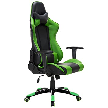 Giantex High Back Racing Style Gaming Chair Reclining Office Executive Task  Computer (Green+Black