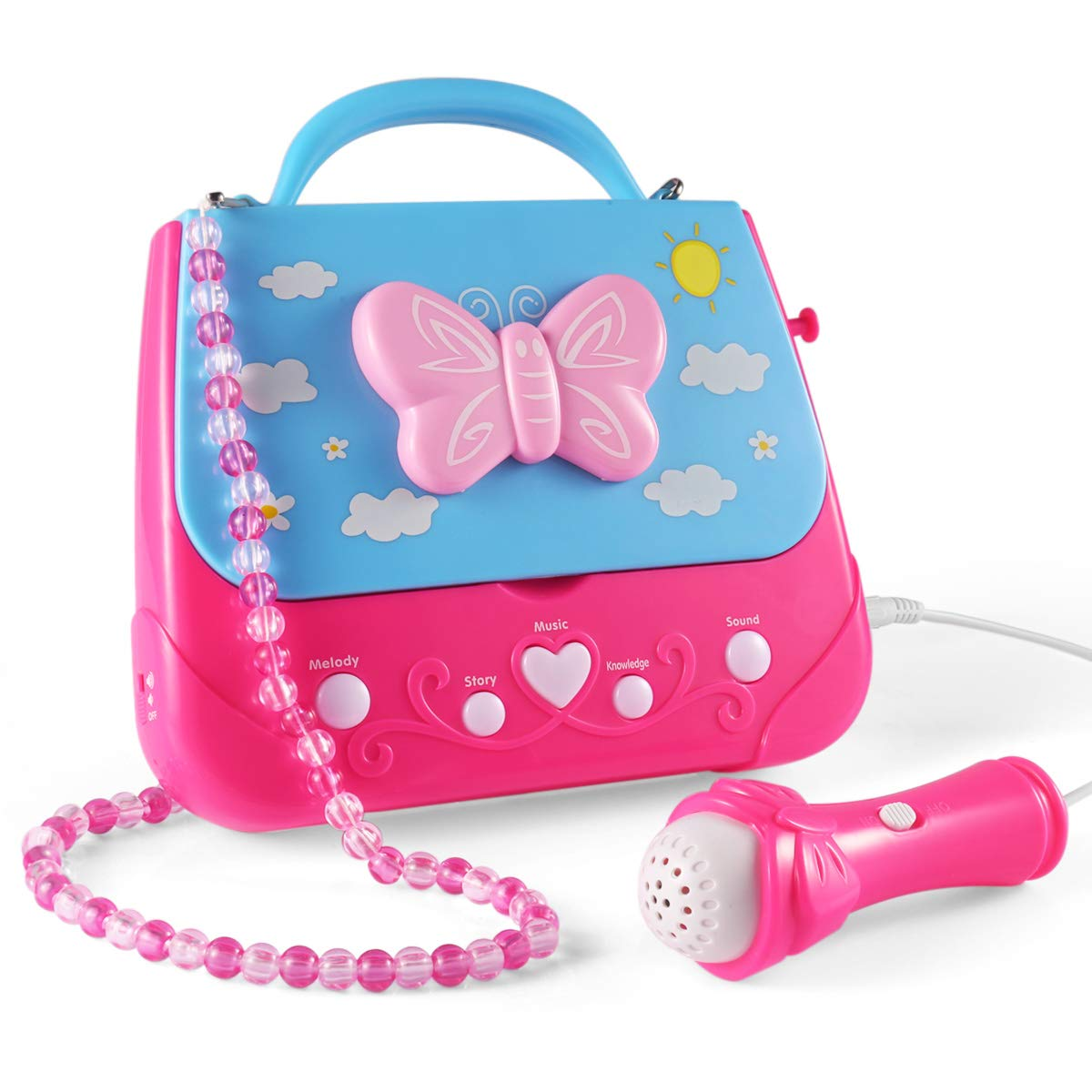 Kids Karaoke Machine, Car Guardiance Girls Karaoke Machine Toys Music Player with Microphone and Lights, Battery Operated Portable Singing Machine with Adorable sing-along boom box for Girls