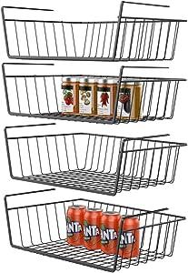 GSlife Under Shelf Basket, 4 Packs Under Shelf Wire Basket Stable Under Cabinet Basket Wire Storage Basket for Kitchen Office Pantry Bathroom, Black