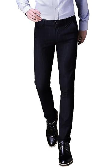 f1801cc11df32 Mens Plaid Slim Fit Stretchy Dress Pants Flat Front Suit Pants