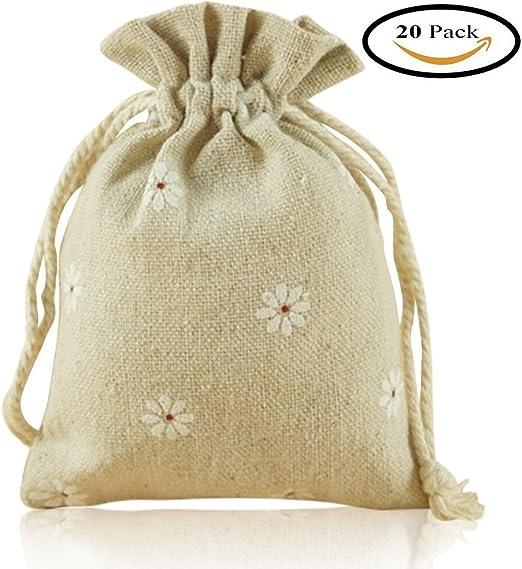 Bolsas de arpillera con cordón, iceblueor 20 pcs algodón yute cordón bolsas de Navidad bolsas de regalo boda favor bolsas de joyería 3,5