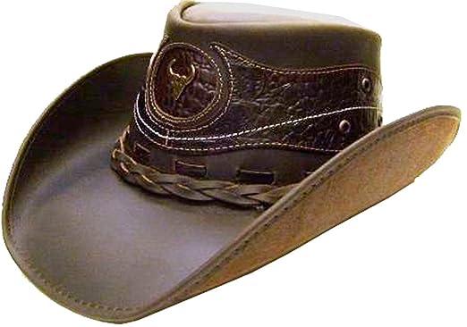Modestone Unisex Leather Cowboy Hat Crocodile Skin Pattern Applique Brown a3e010e9a87