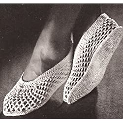 Vintage Crochet PATTERN to make - Mesh Spa Slippers Shower Water Shoes. NOT a finished item. This is a pattern and/or instructions to make the item only.