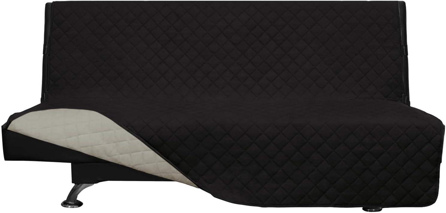 Easy-Going Futon Sofa Slipcover Reversible Sofa Cover Armless Futon Cover Furniture Protector Couch Cover Water Resistant PetsKidsChildrenDogCat(Futon,Black/Beige)