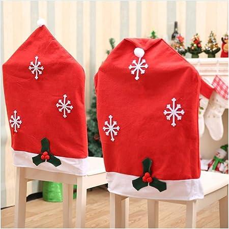 Amacoam Coprisedie Natalizi Coprisedie Babbo Natale Rosso Cappello Fiocco di Neve Coprisedia Natalizio Fodere Sedie Decorazioni Natalizie Decorazioni