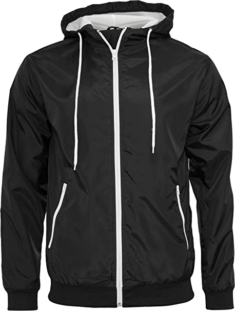 Build Your Brand Windrunner Chaqueta, (Blk/Wht 00050), XXXX ...