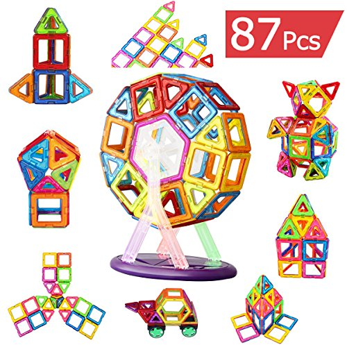 Augymer Magnetic Building Blocks Set, 87 Pcs Magnetic Construction Stacking Toys for Children Kids with Carry Box Letters and Numbers - Magneto Housing