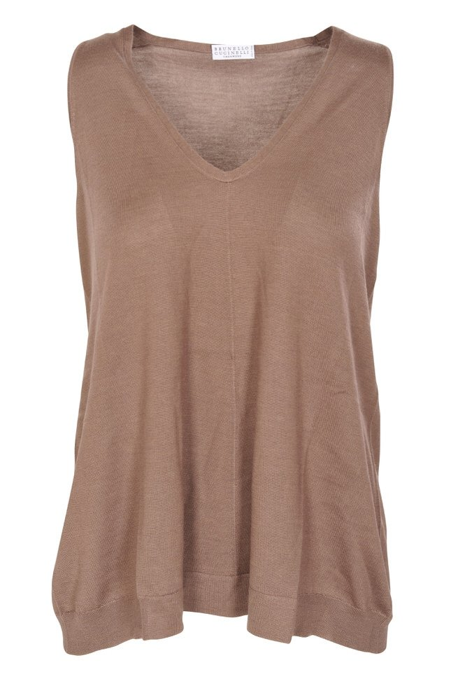 Brunello Cucinelli Top Women's Brown Loose Fit Cashmere Casual L IT