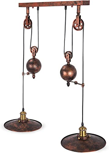 OrangeA Pulley Pendant Light 19.5 Dia x 32.4 H Vintage Ceiling Lamp 39 Adjustable Cable Retractable Hanging Pendant Light Without Plug in Cord for 15-20 Room