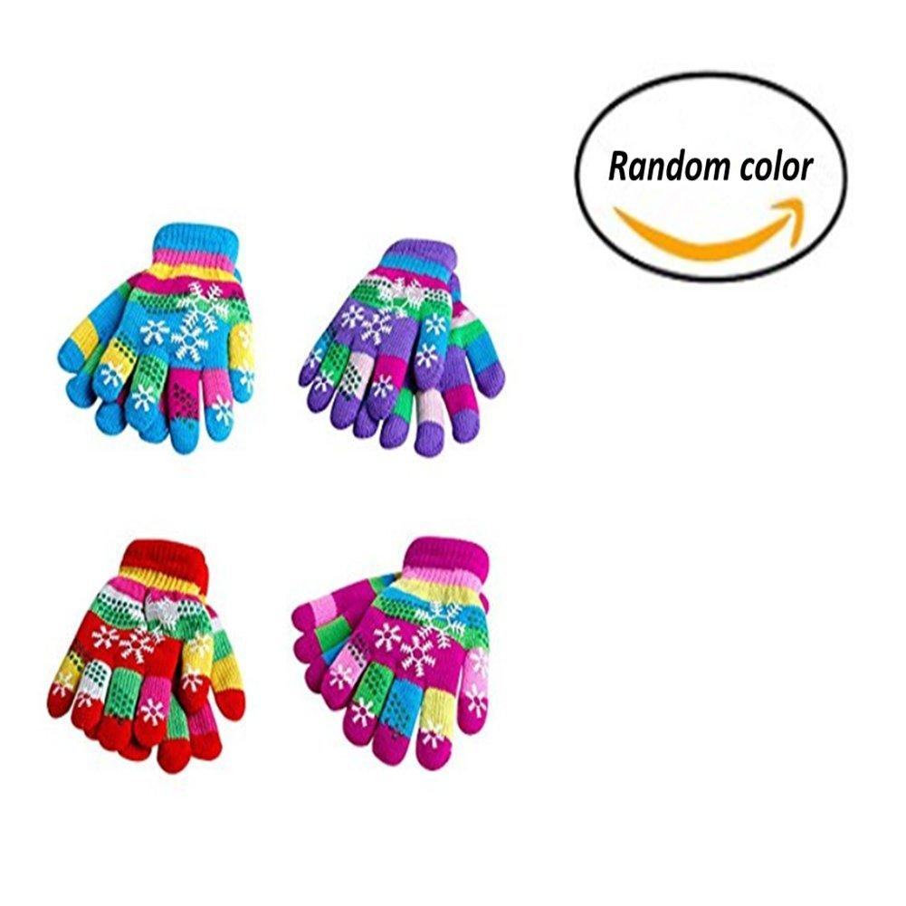 Gentlecarin Children's Magic Stretch Gloves,Kids Mittens Windproof Thicken Kit Ski Gloves Boys Girls Outdoor Winter Warm,Randomly