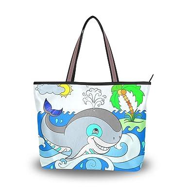 Amazon.com: Bolsas de hombro de ballena azul, asa grande ...