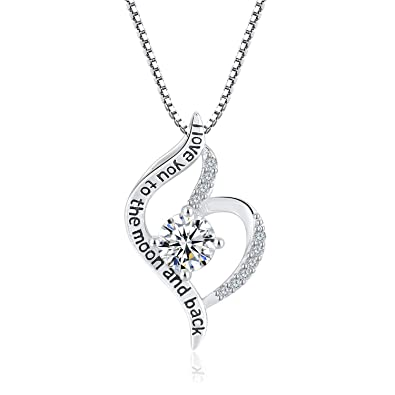 f63fd9d6420c5 Angemiel 925 Sterling Silver Jewelry I Love You Love Heart Pendant Necklace