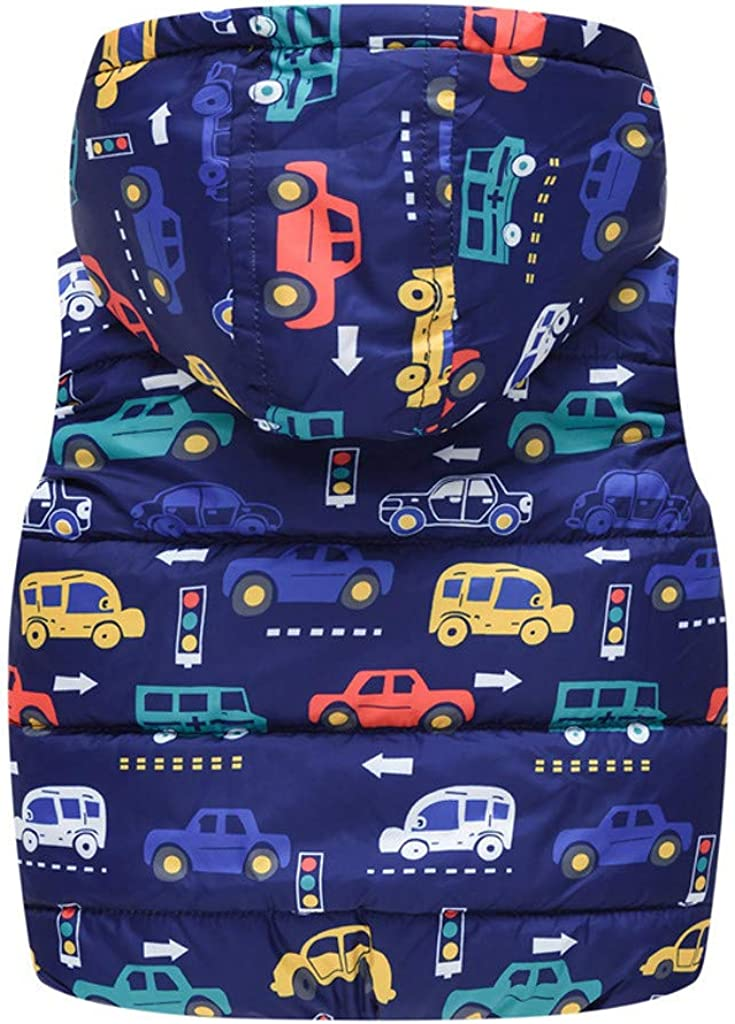 F/_Gotal Baby Toddler Boys Girls Winter Clothes Warm Hooded Waistcoat Jacket 1-5 Years Old Kids Car Print Vest Coat