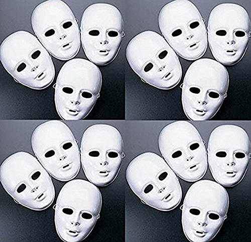 White Paper Mache - Lot of 48 MASKS White Plastic Full Face Decorating Craft Halloween School