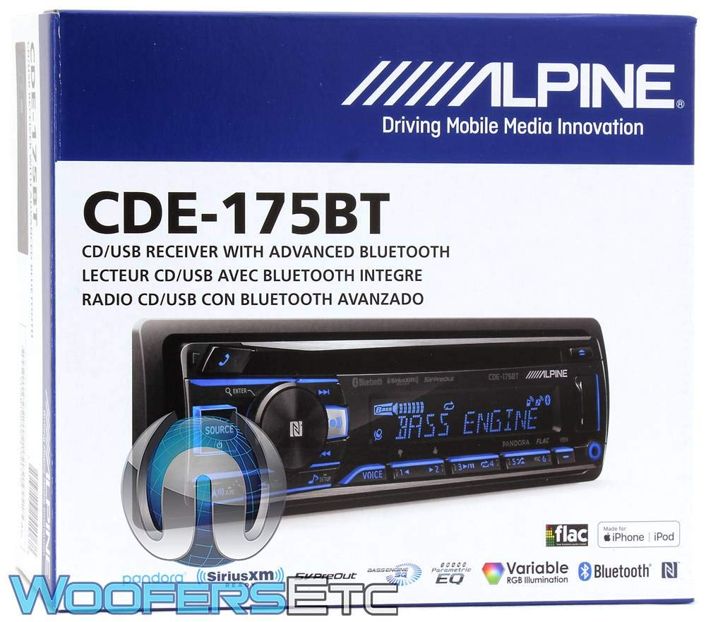Alpine CDE-175BT, Single-DIN CD Car Stereo w Bluetooth, USB Auxiliary Input Replaces CDE-163BT
