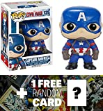 Captain America: Funko POP! x Captain America Civil War Bobble-Head Figure + 1 FREE Official Marvel Trading Card Bundle [72230]