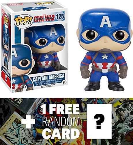 Captain America: Funko POP! x Captain America Civil War Bobble-Head Figure + 1 FREE Official Marvel Trading Card Bundle [72230]